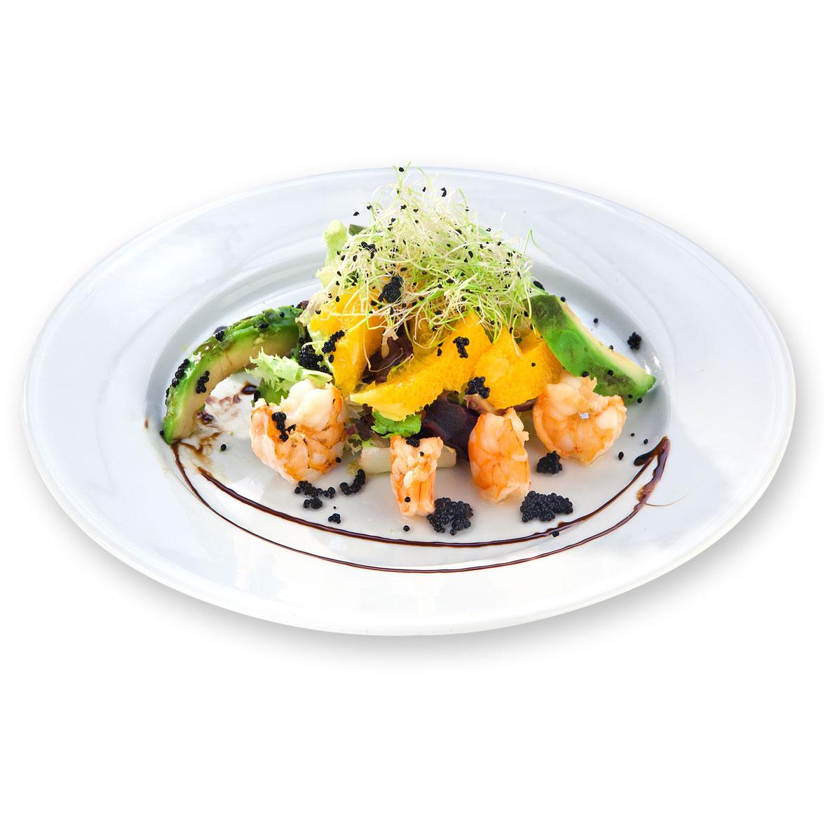 Restaurante Alicante Juan Abril - Platos - Langostinos con aguacate y naranja