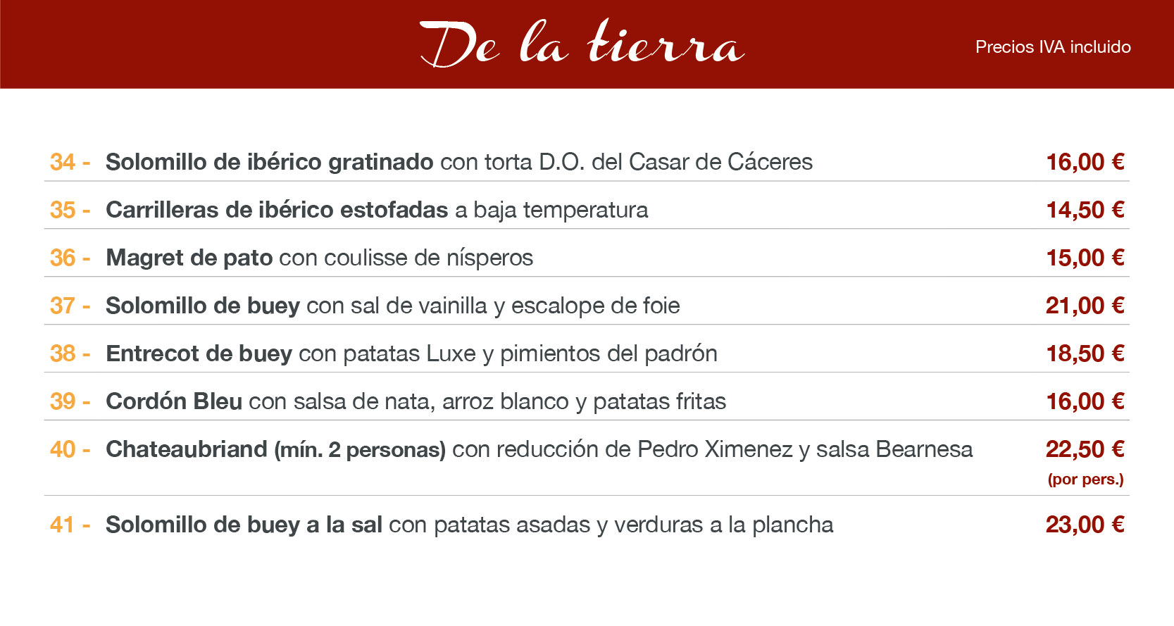 menu carne altea