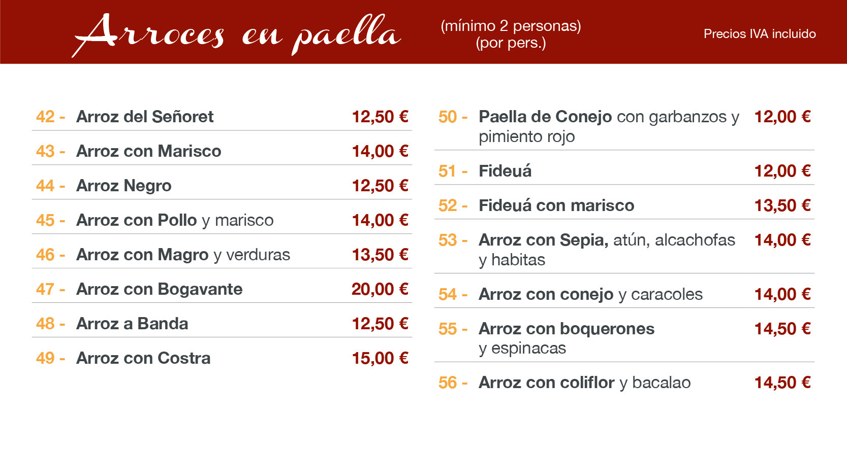 menu paella restaurante Altea