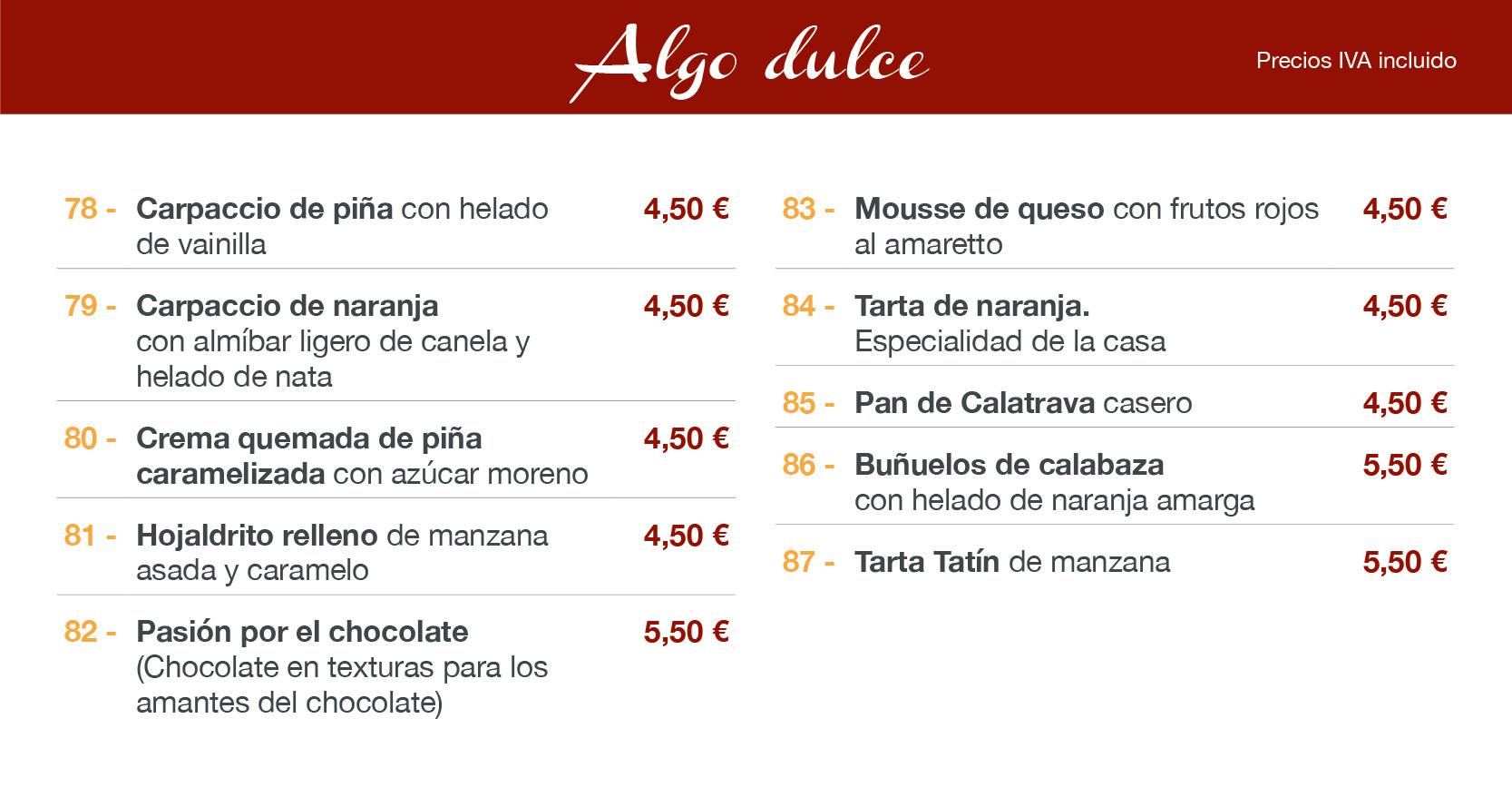 menu restaurante Altea